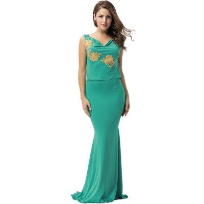 Backless Sleeveless Green Elegant Embroidery Party Gown