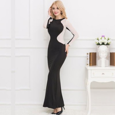 Black Floor Length Long Sleeve Silver Stud Evening Dress