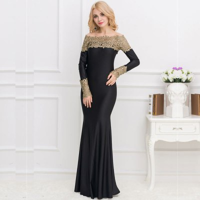 Boat Neck Khaki Lace Evening Gown