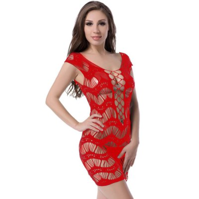 Crocheted Lace Hollow out Chemise Dress