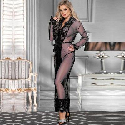 Delicate Lace Long Sleepwear Gown Black