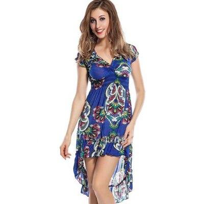 Floral Design Beach Dress Blue