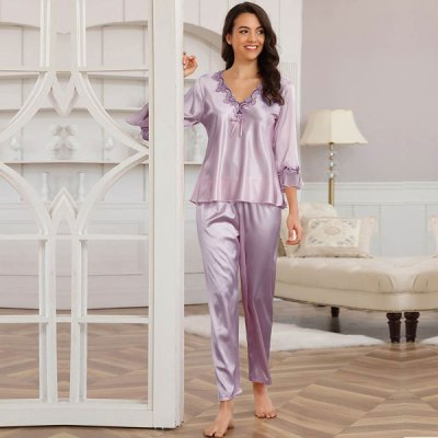 Long Sleeve Silk PajamaTwo Piece Set