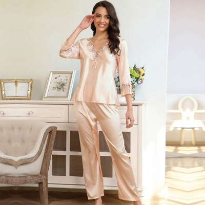 Long Sleeve Silk Pajama Two Piece Set Skin