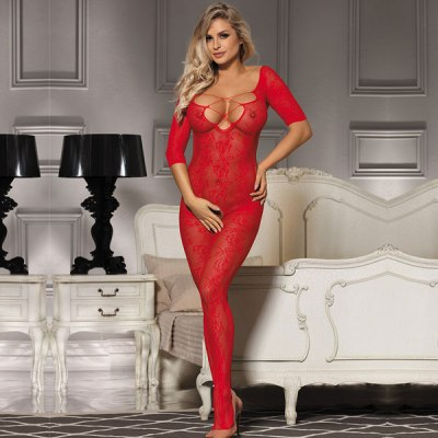 Open Crotch Rose Pattern Lace Red Bodystockings