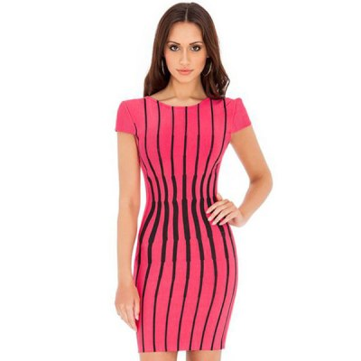 Black And Pink Striped Short Sleeved Dress