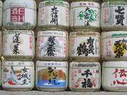 The Sake Barrels stacked on each other at Meiji Jingu, a very famous shrine in Tokyo.
