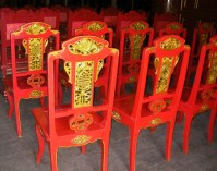 Glossy Vibrant Laquered Red and gold Theatre chairs Hue