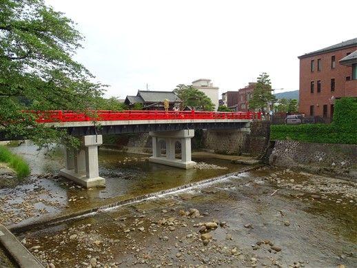 Le pont rouge et la rivière de Takayama