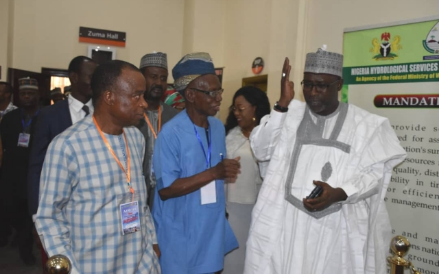 Honourable Minister of Water Resources, Engr. Suleiman H.Adamu with the DG NIHSA, Engr.Clement Onyeasor Nze and Prof Lekan Oyebande at AFO 2019 presentation in Abuja on Tuesday 30th April, 2019.