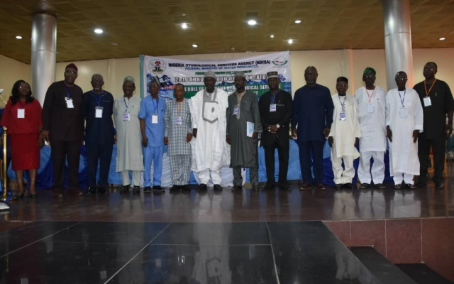 Group photograph of the Honourable Minister of the Federal Ministry of Water Resources(FMWR),Engr. Suleiman H. Adamu, FNSE,with NIHSA DG, Engr. Clement O Nze, MNSE and some dignitaries at the AFO 2019 Presentation Stakeholders Workshop at the Rockview Hotel,Abuja on the 30th April.