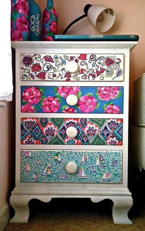 organização diy - gaveta forrada com papel de presente ou tecido