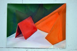 still life painting of coloured paper