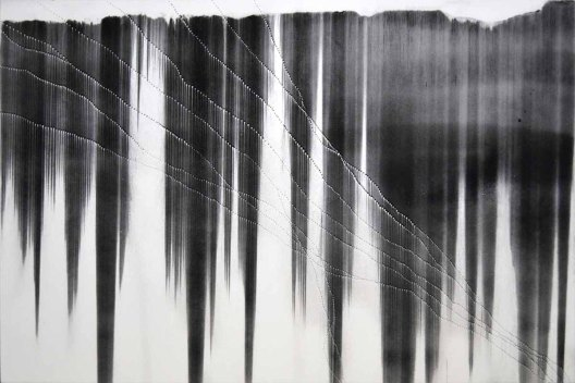 Gravity Drop - Decrescendo, charcoal and holes on museum board, 40 x 60 inches, 2011