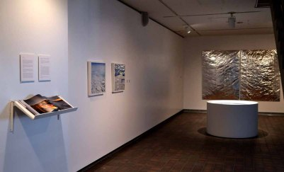 """Installation view with """"Sight of Sound"""", sonotube, carborundum, vinyl coated fabric, paint, polyfil, museum board, bass amp and ipod with original music (Sight of Sound composition 9 min 45 sec), 2012"""