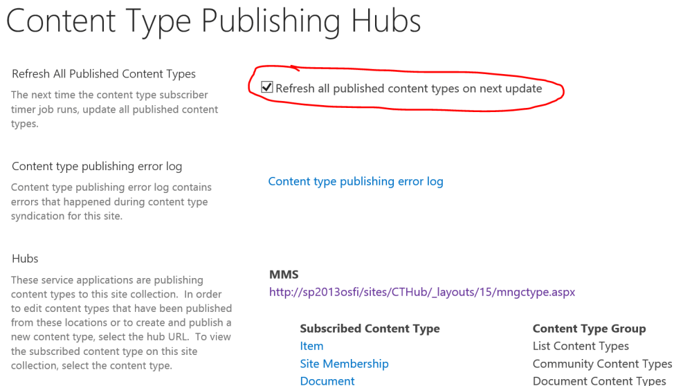 Refresh all published content types on next update