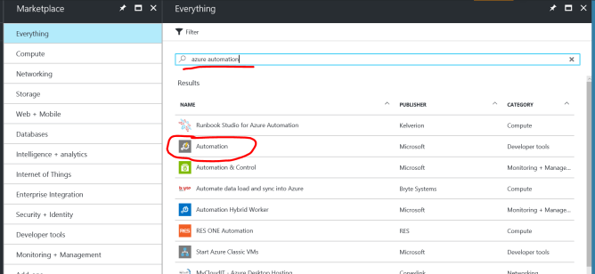 Create a new Azure Automation Account