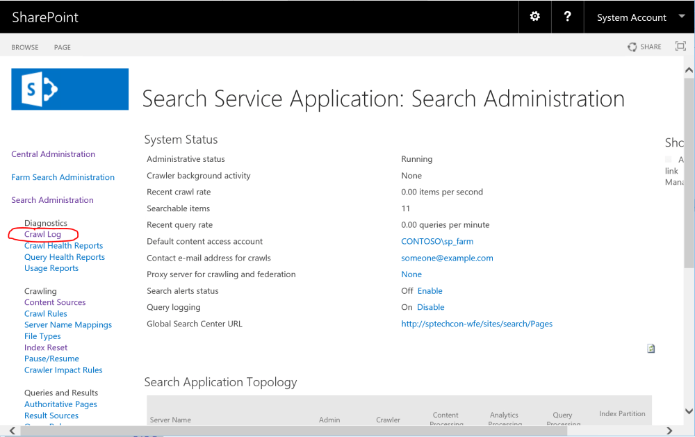 SharePoint Search Crawl Log