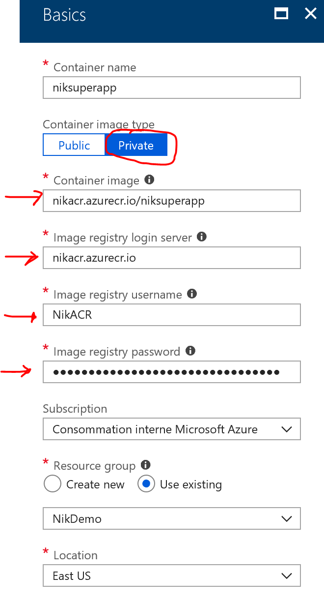 New Azure Container Instance - Basics