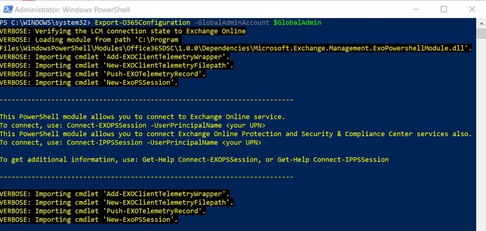 Initiated the Office365DSC Extraction Process