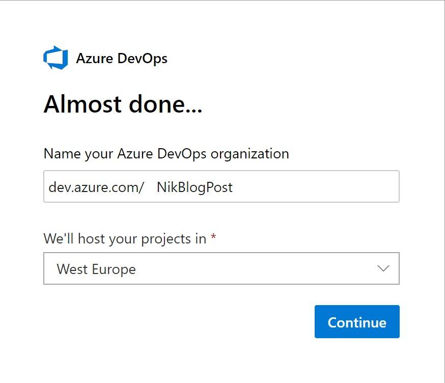 Create new Organization in Azure DevOPS