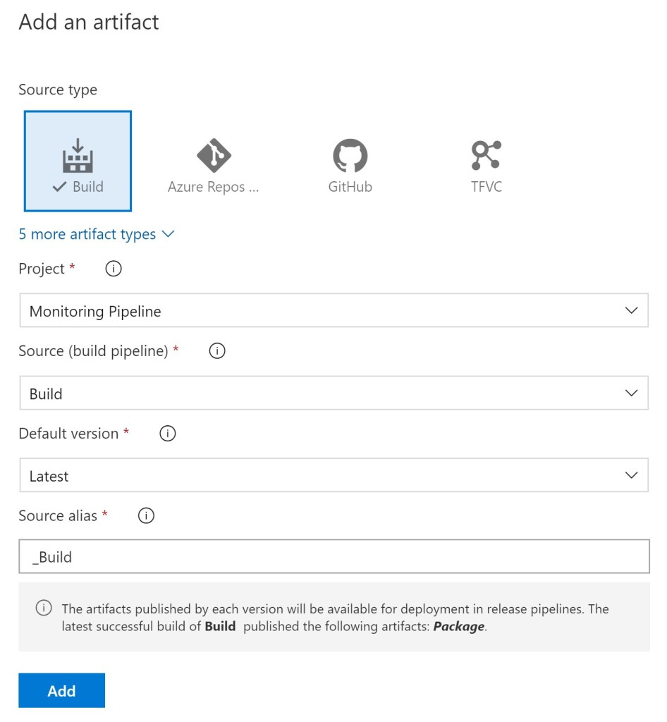 Azure DevOPS Release Pipeline Artifact selection