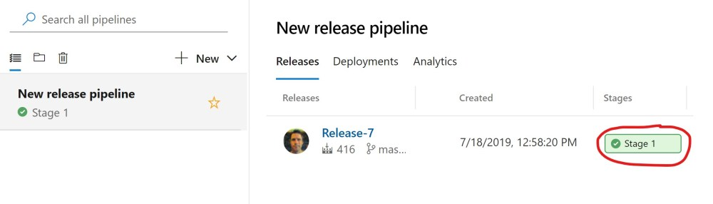 Successful Azure DevOPS Release Pipeline Execution