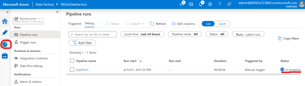 Monitor an Azure Data Factory pipeline execution