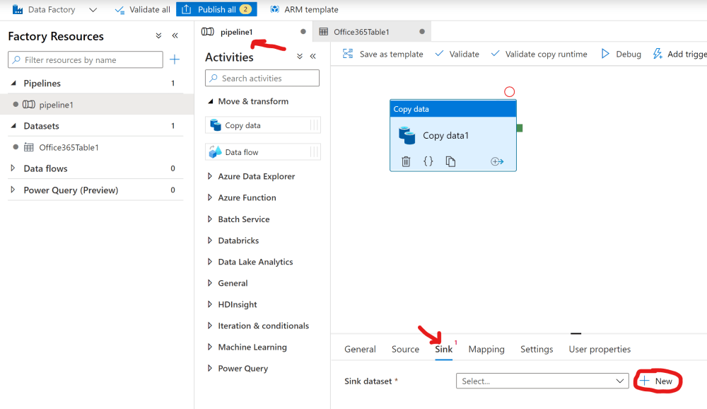 New Sink for the Copy data activity in Azure Data Factory