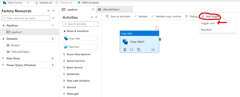 Manually trigger and Azure Data Factory pipeline run