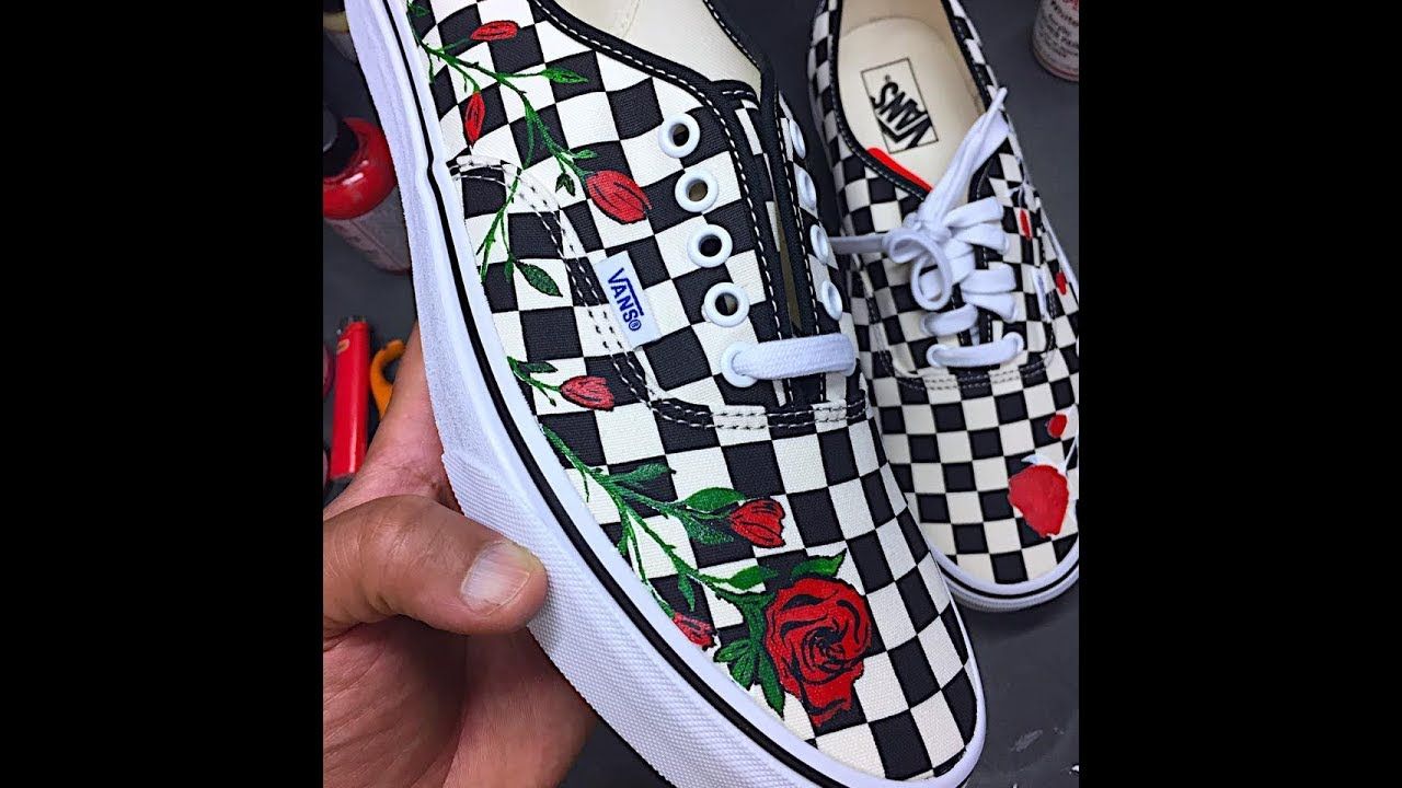 HOW TO PAINT YOUR VANS WITH ROSE PRINT TUTORIAL DIY - HOW TO: PAINT YOUR VANS WITH ROSE PRINT TUTORIAL DIY