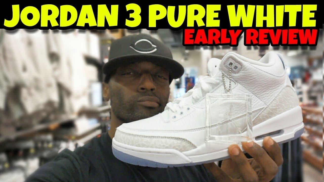 """Jordan 3 Pure White aka Triple White Early Detail Review - Jordan 3 Pure White aka """"Triple White"""" Early Detail Review"""