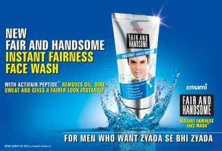 Advertisement for a skin bleaching cream catered to men