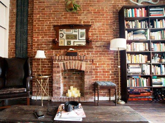 Gambar Batu Bata Desain Interior Modern dan Klasik - Tembok Batu Bata - Interior Desain Kamar Rumah 01