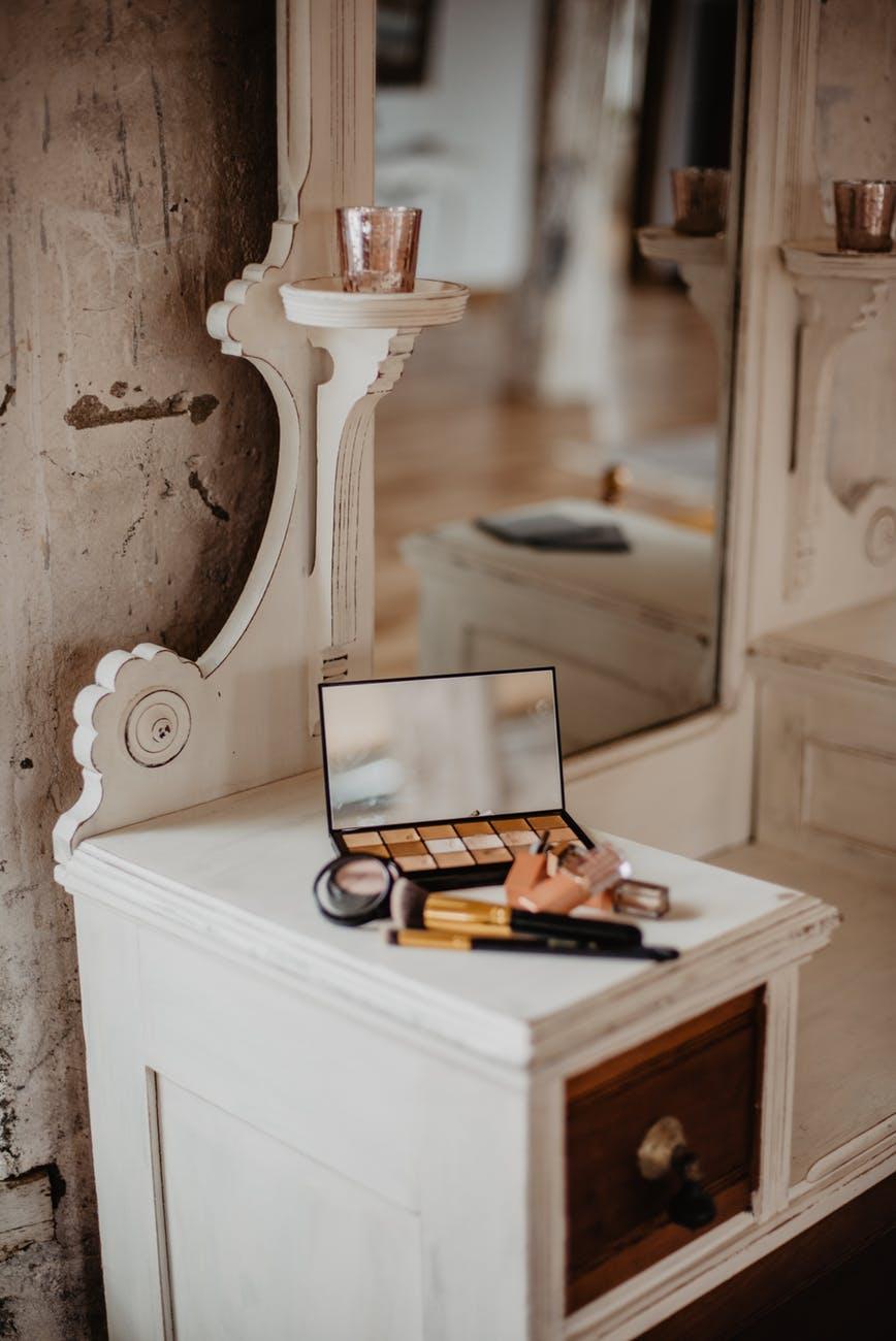 white wooden vanity mirror