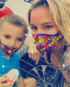 Grayson and I wearing our no Limits Foundation Masks