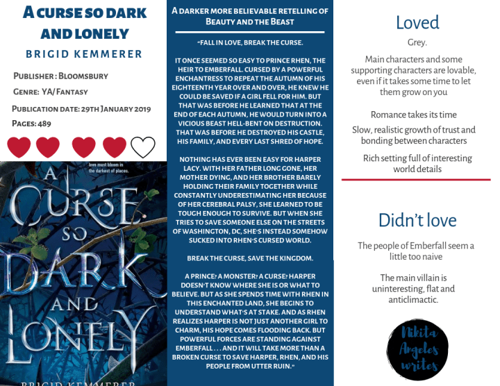 A curse so dark and lonely - Brigid Kemmerer Quick Review
