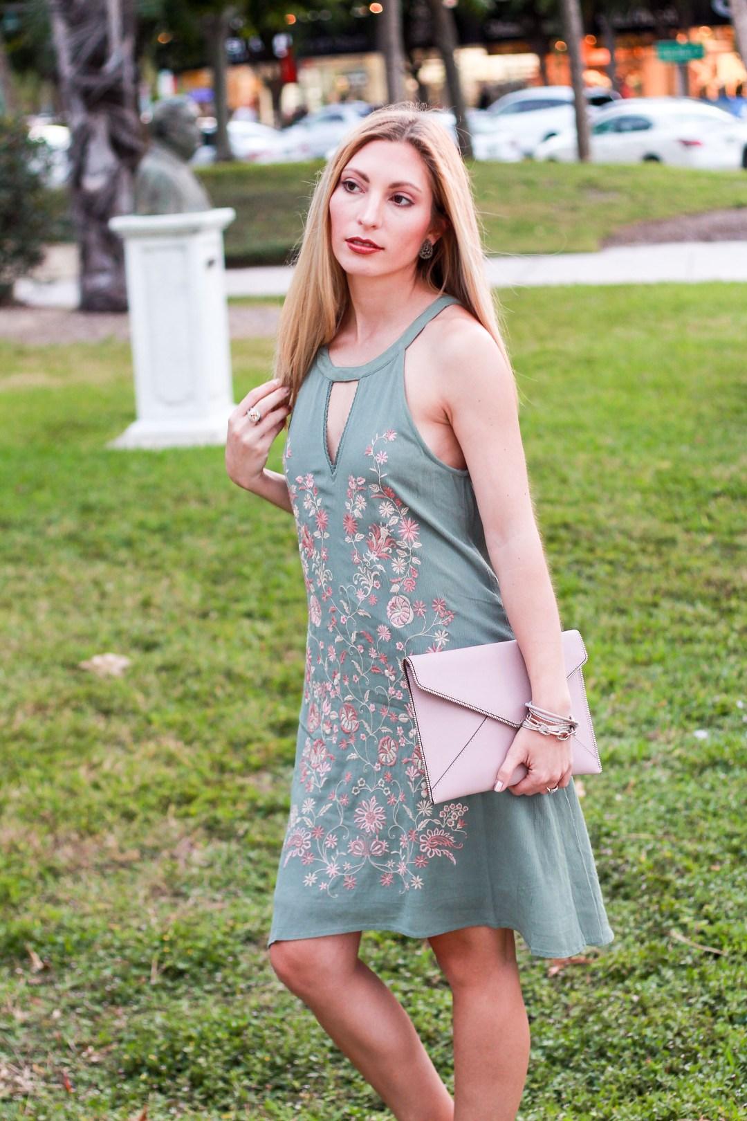 GREEN FLORAL DRESS + ST. ARMAND'S SIESTA KEY