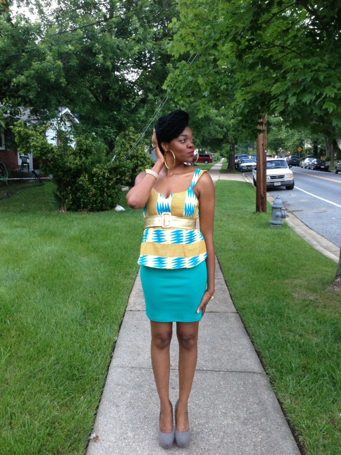 kente-print-peplum-top-with-a-teal-blue-pencil-skirt-4