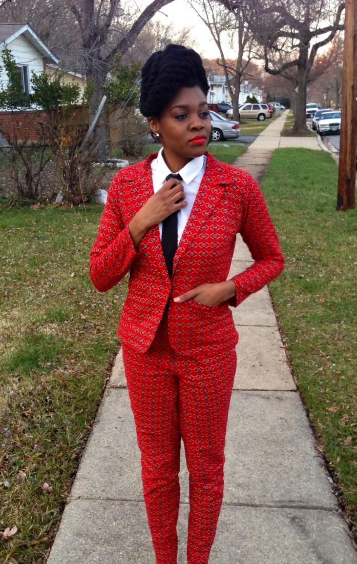 Red Ankara Suit & Tie 10