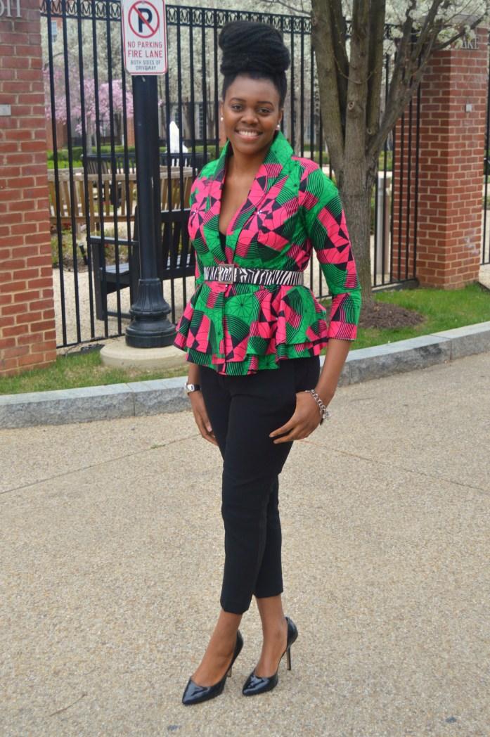 Nikki Billie Jean Pink and Green Ankara Print Peplum Jacket 7