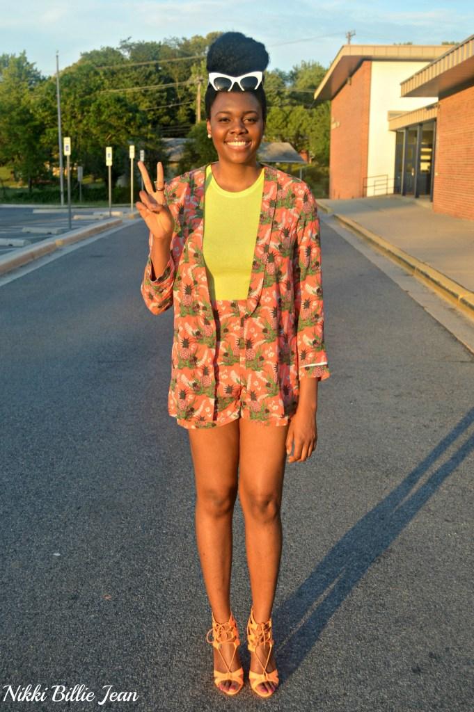 Nikki Billie Jean ASOS Pineapple Print Blazer & Shorts with Steve Madden Maiden Lace Up Sandal Heels 9
