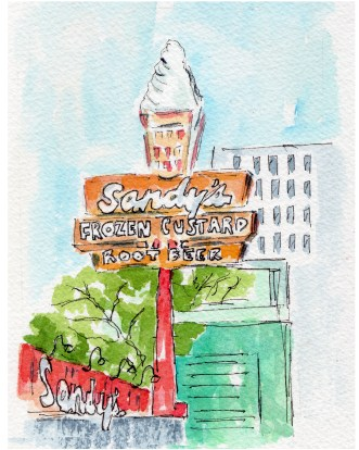 Afternoon Delight Original 5X7 Watercolor of Sandy's Hamburgers Framed $85 Cards and prints are available.