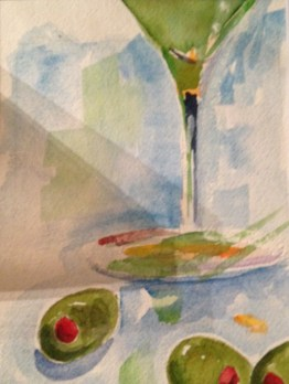 Cheers! Original 5X7 Watercolor Donated to Meredith's Mission for Melanoma Awareness Gala 2017