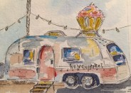 Trailer Heaven Original 5X7 Watercolor of Hey Cupcake! SOLD Cards and prints are available.
