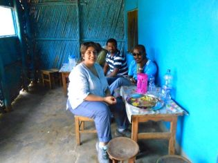 A typical lunch spot - Amee is with Lalo, our guide, and Haptath, our driver