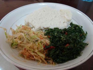 Lunch! Ugali, sukuma wiki and cabbage