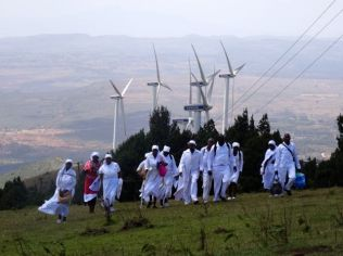 Kenya's only windfarm and some Christian pilgrims in the Ngong Hills