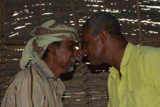 Socotran men greet by bumping noses