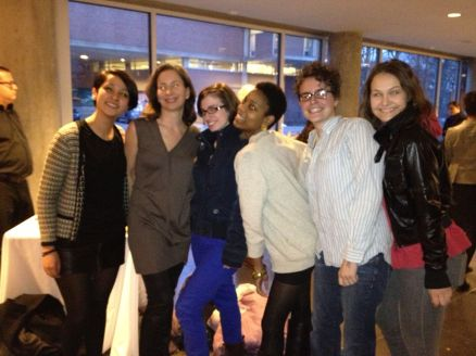 Wellesley students pose with Andrea Fraser (2nd from left)